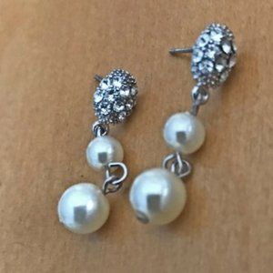 Faux Pearl Earrings Crystal Accents Wedding Prom